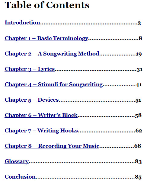 writing a table of contents